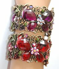 Butterfly Victorian Look Cuff Bracelet w Crystals / Antique Gold-tone