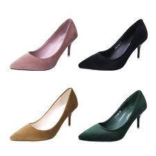 Women Ladies Velvet Slip On Pointed High Heels Stiletto Shoes Pumps Court Office