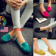 US Women Metal Solid Slip On Casual Driving Shoes Loafers Moccasin Flats Oxfords