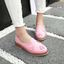 Preppy Womens Flower Shoes Slip Ons Low Heel Loafers Round Toe Slippers Shoes