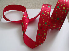 SHIMMERY CIRCLES Red Gold & Green on red satin  - Luxury Wire Edged Ribbon LOW