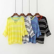 New Womens Ladies Striped Pattern Summer Hollow Knitted 3/4 Sleeve Tops Sweater