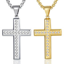 Mens Chain Stainless Steel Gold Silver Paved Rhinestones Cross Pendant Necklace