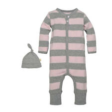 Burt's Bees Baby Grey/Pink Rugby Striped Coverall with Matching Hat