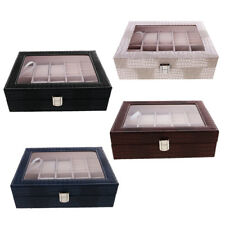 Wood Watch Box PU Leather Jewelry Collection Display Storage Case Clear Top