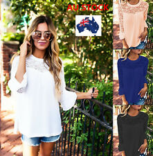 Women Ladies Stitching Lace Chiffon Blouse Hollow Casual Flared Long Sleeve Tops