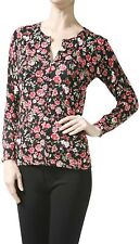 ToBeInStyle Women's Long Sleeve Sleeve Rose Print Crew Neck Cardigan Sweater