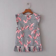 New Womens Summer Casual Striped Cranes Print Sleeveless Ruffled Pullover Blouse