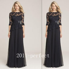 Mother Of The Bride Dress Black Lace Half Sleeves Sheer Neck A Line Chiffon Gown