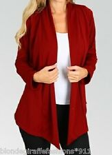 Dark Red/Burgundy Long Sleeve Shrug/Cover-Up Open Front Tunic Cardigan S M L