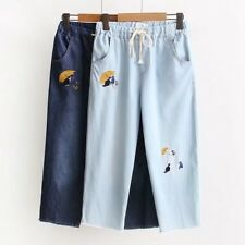 New Womens Cat Umbrella Embroidered Elastic Waist Denim Jeans Cropped Trousers