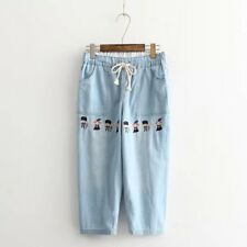 New Womens Ladies Elastic Waist Embroidered Denim Jeans Cropped Pants Trousers