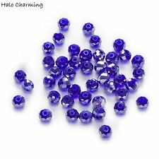 50 Piece Dark Blue AB Crystal Glass Faceted Beads Rondelle Jewelry Making 4-8mm