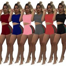 2Pcs/Set Women Summer Sportswear Tracksuit Crop Top & Shorts Pants Fitness Yoga