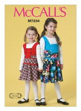 McCalls Girls Easy Sewing Pattern 7234 Pinafore Dresses (McCalls-7234-M)