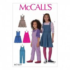McCalls Girls Easy Sewing Pattern 7459 Pinafore Dresses & Dungaree Overal...