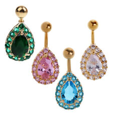CZ Crystal Navel Belly Ring Crystal Button Bar Body Piercing Women Jewelry