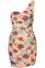 BNWT Topshop Ruche Floral Bodycon One Shoulder Special Occasion Dress Size 10