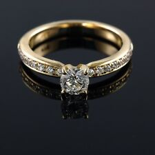 Round 0.57-0.93CT E VS1 Diamond Fine 14/18K Yellow Gold Engagement Ring Enhanced
