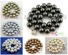 """D0130 18"""" 14MM ROUND SOUTH SEA SHELL PEARL NECKLACE"""