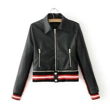 New Womens Ladies Sexy Black Faux Leather Bomber Motorcycle Jacket Coat