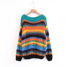 New Womens Rainbow Striped Pattern Hollow Pullover Knitted Jumper Sweater
