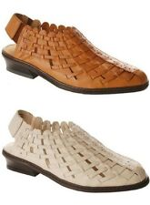 Annie Shoes Lexi Closed Toe Slingback Woven leather Sandals New
