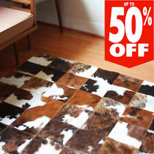 CowHide Rug Cow Skin Leather Tricolor Patchwork Cow Hide Area Rug Hair on Hide