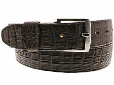 Men's Real Leather Crocodile Alligator Belly Brown Belt Cowboy Western Rodeo