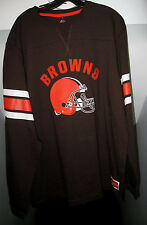 CLEVELAND BROWNS NFL POWER HIT LONG SLEEVE SEWN LETTERING BROWN SHIRT NWT