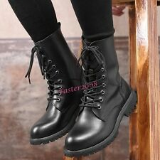 Military Men's Biker Faux Leather Hiking Combat Army Boots Lace Up Casual Shoes