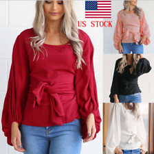 US Women Ladies Puff Lantern Long Sleeve Lace Up Loose Casual Blouse Tops Shirts