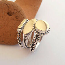 "Unisex Stackable Silver and Gold Signet Rings. ""Listed Price for 3 rings."""