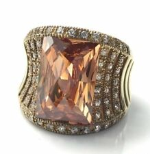 New Victoria Wieck Champagne Absolute CZ Gold Vermeil Sterling Ring 7 & 9.5