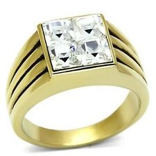 TK769 square gold STAINLESS STEEL MENS SIGNET SIMULATED DIAMOND RING SIGNET