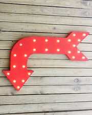 Plug-In Rustic Metal RIGHT Arrow Exit Open Enter Come In Marquee Light Up Sign
