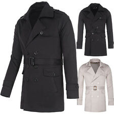 Men Casual Slim Fit Trench Coat Jacket Long Double Breasted Outerwear Overcoat
