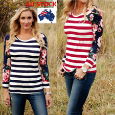 AU 8-18 Women Casual Floral Printed Striped Long Sleeve T-Shirt  Tops Blouse Tee