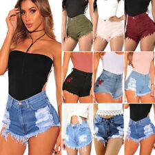 Womens Ladies Vintage High Waist Stretch Ripped Denim Jeans Shorts Hotpants New