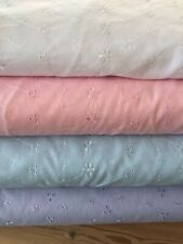 """3 hole broderie anglais poly cotton fabric 60"""" wide white lilac mint, cream pink"""