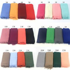 Hijab Scarf Islam Head Wear Solid Color Full Cover Wrinkle Cotton Muslim Scarf
