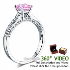 925 Sterling Silver Engagement Ring 1.25 Carat Fancy Pink Lab Created Diamond ^^
