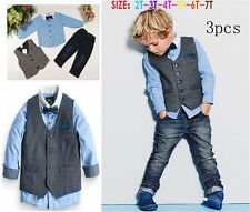 Hot Sale 3PCS Kids Baby Boys Gentleman Waistcoat + Shirt + Jeans Casual Outfity