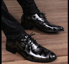Men Casual Dress Formal Leather Shoes Oxfords Loafers Lace up Floral Printing