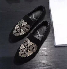 Mens embroidery casual loafers comfort shoes slip ons Shoes Gommino Moccasins