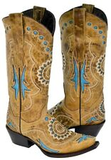 Womens Sand Turquoise Leather Embroidered Inlay Cowboy Boots Western Snip Toe