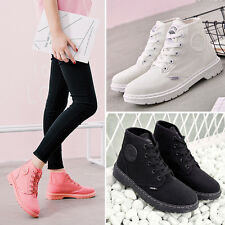 Women Lady Canvas Lace Up Mid Calf Shoes Flat Combat Ankle Martin Boots Size New