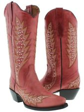 Red Silver Studs Leather Cowboy Cowgirl Western Rodeo Boots Embroidered Ranch