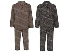 Mens Paisley Long Sleeved Pyjamas Cotton Winceyette Pjs Top Bottoms Nightwear