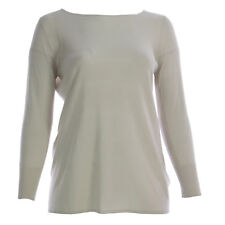MARINA RINALDI Women's Beige Ascoli Long Sleeve Silk Sweater $570 NWT